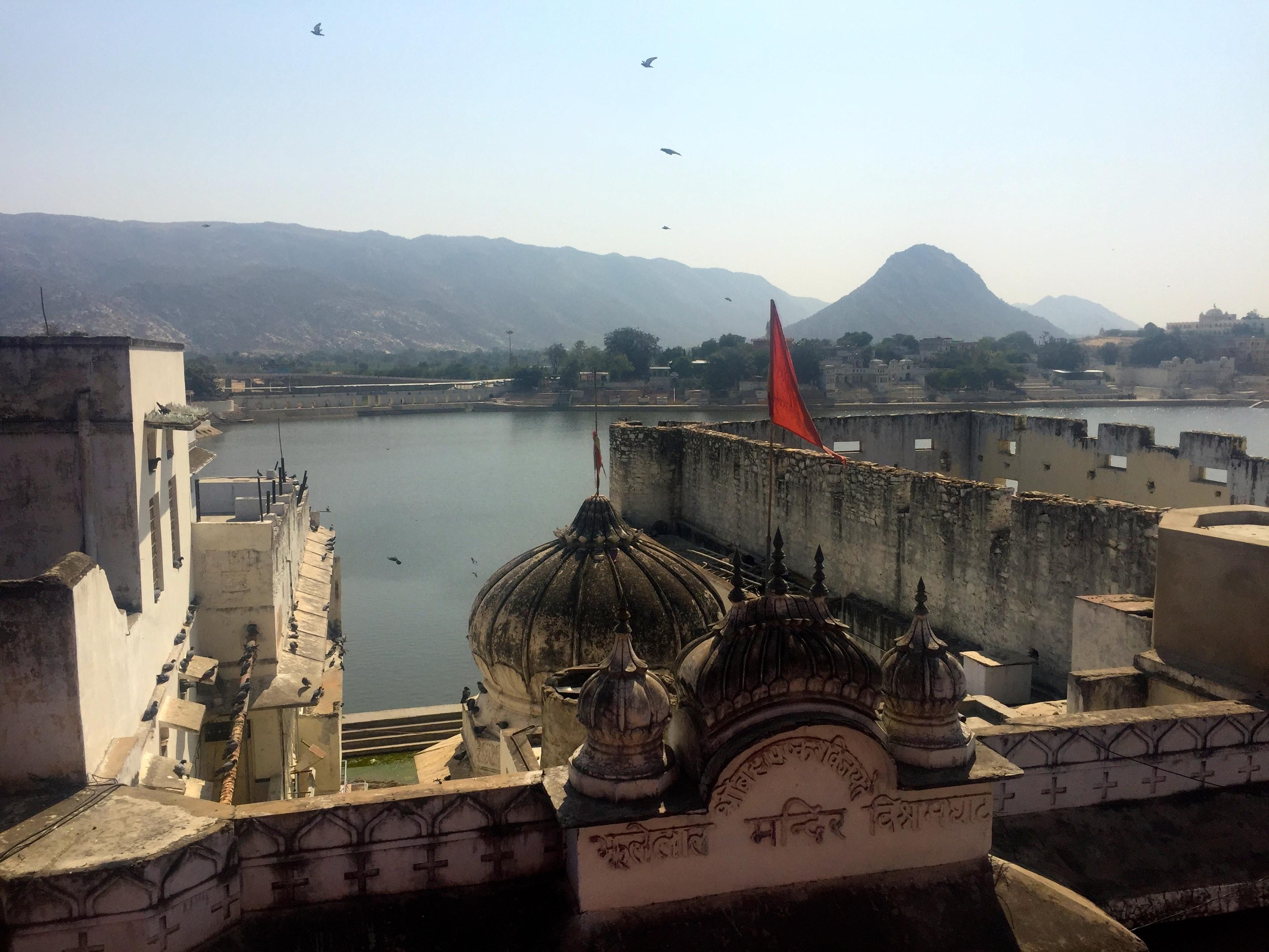 Blick auf den heiligen See von Pushkar