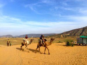 Kamelsafari in der Nähe von Pushkar.