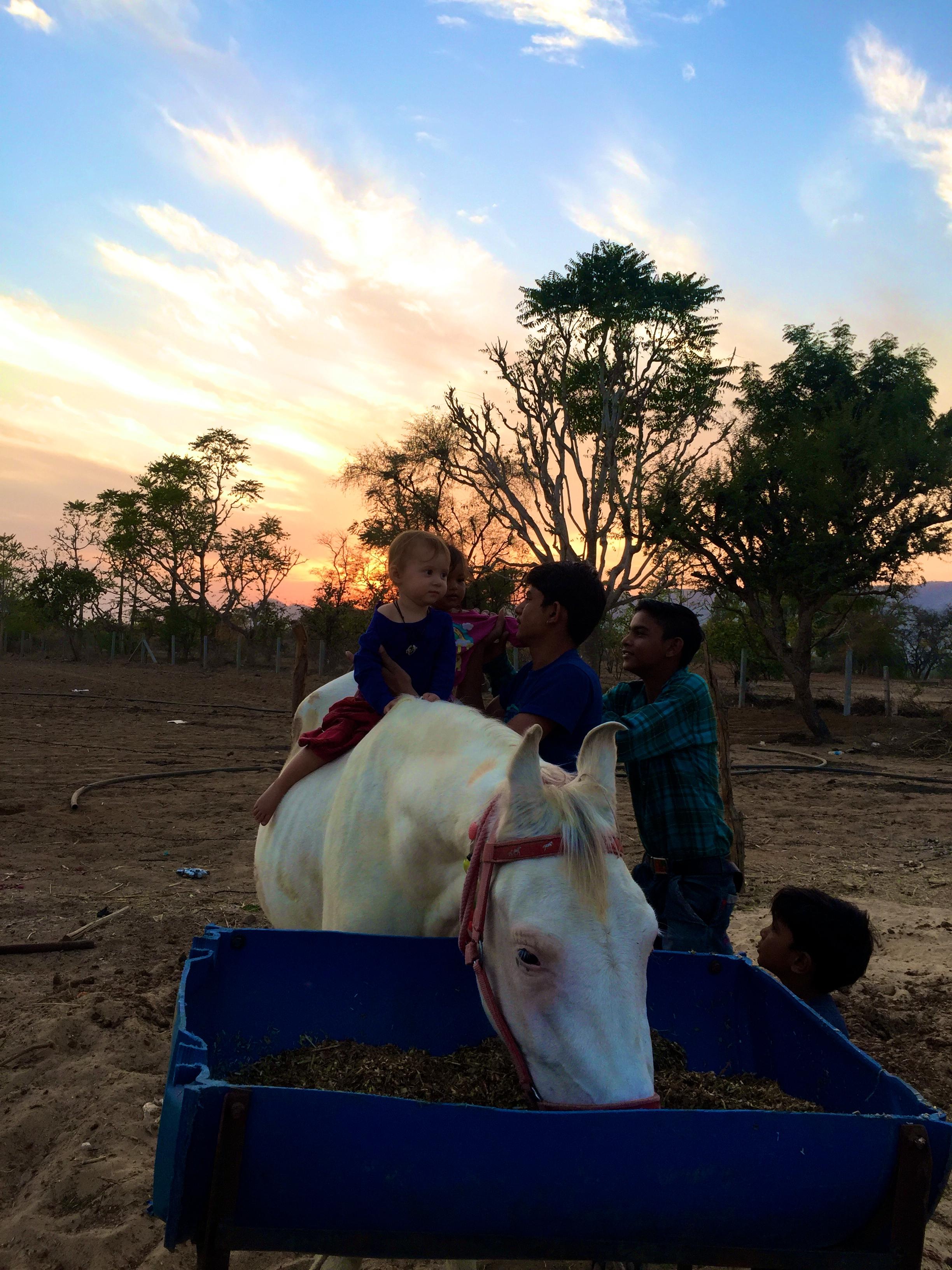Kinder sitzen auf Pferd, Indien